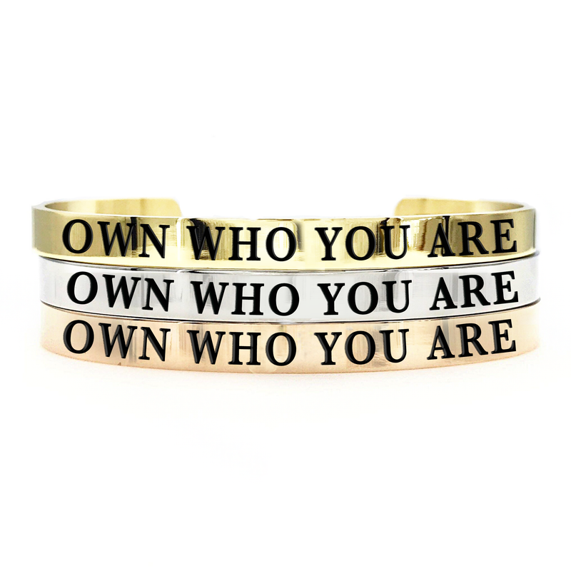 Own Who You Are Thick Bangle - Metal Marvels - Bold mantras for bold women.