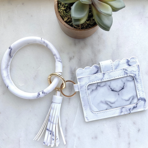 Keyring Bangle + Cardholder (Marble) - Metal Marvels - Bold mantras for bold women.