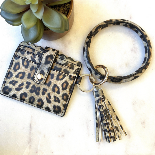 Keyring Bangle + Cardholder (Leopard) - Metal Marvels - Bold mantras for bold women.
