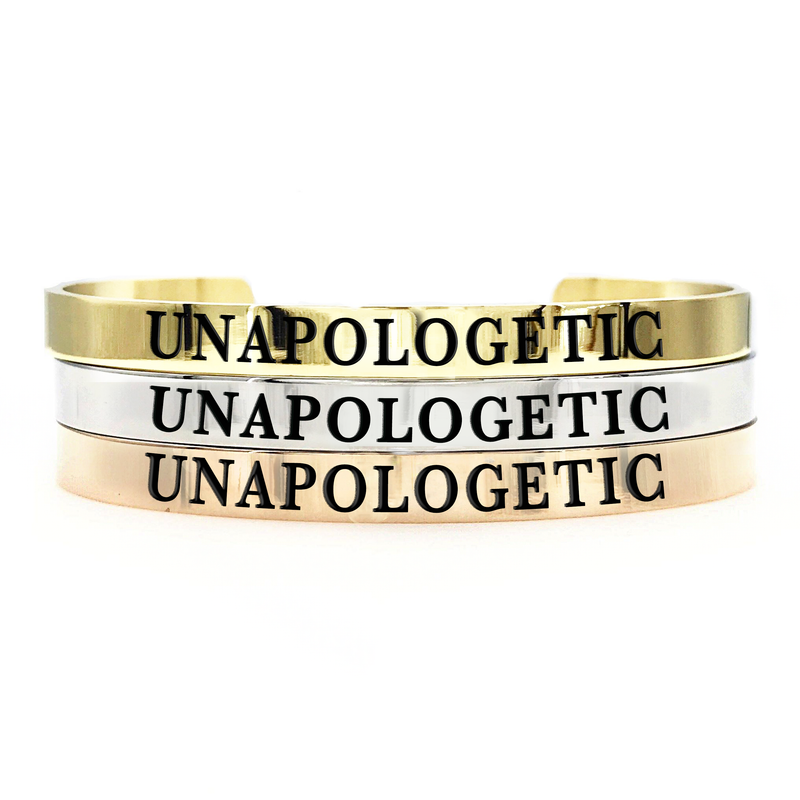 Unapologetic Thick Bangle - Metal Marvels - Bold mantras for bold women.