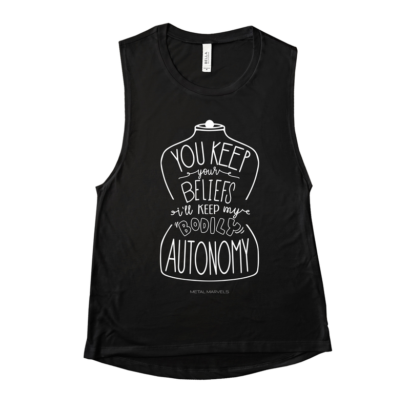 Bodily Autonomy - Black Muscle Tank - Metal Marvels - Bold mantras for bold women.