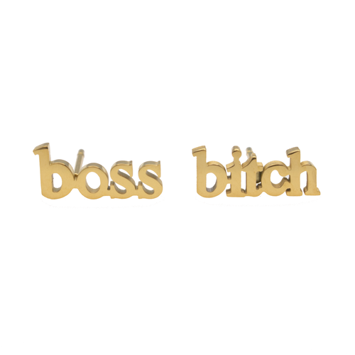 Boss Bitch Earring Set - Metal Marvels - Bold mantras for bold women.