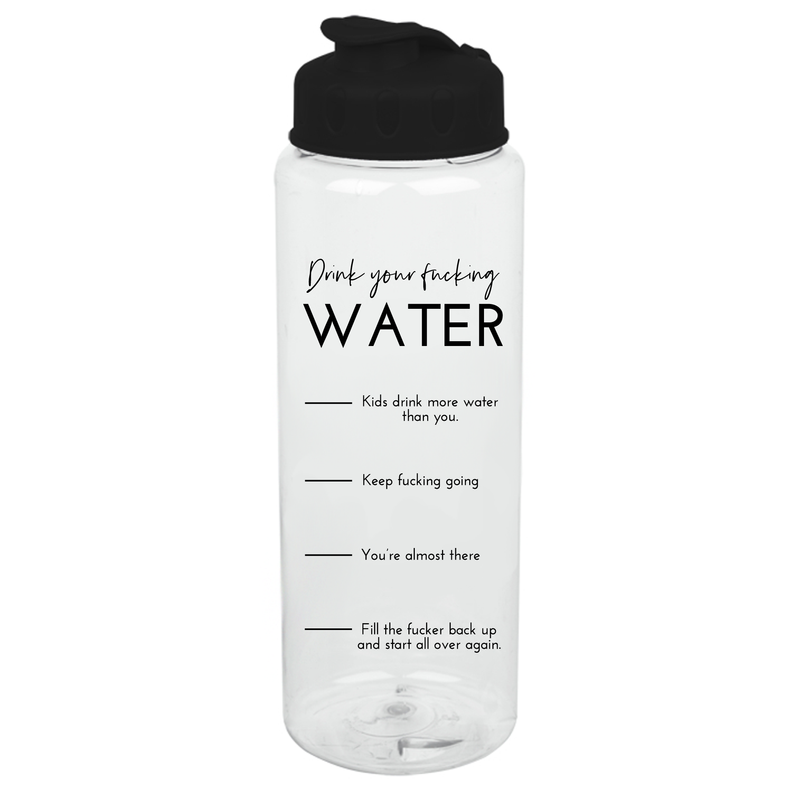 Drink Your Fucking Water 32 oz Water Bottle - Metal Marvels - Bold mantras for bold women.