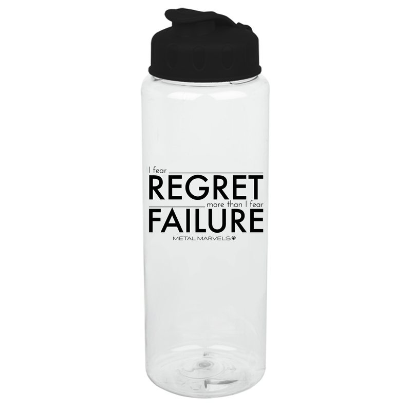 Fear Regret 32 oz Water Bottle - Metal Marvels - Bold mantras for bold women.