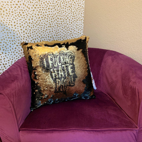 I Fucking Hate People Silhouette Pillow Cover - Metal Marvels - Bold mantras for bold women.