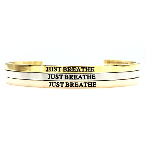 Just Breathe Bangle - Metal Marvels - Bold mantras for bold women.