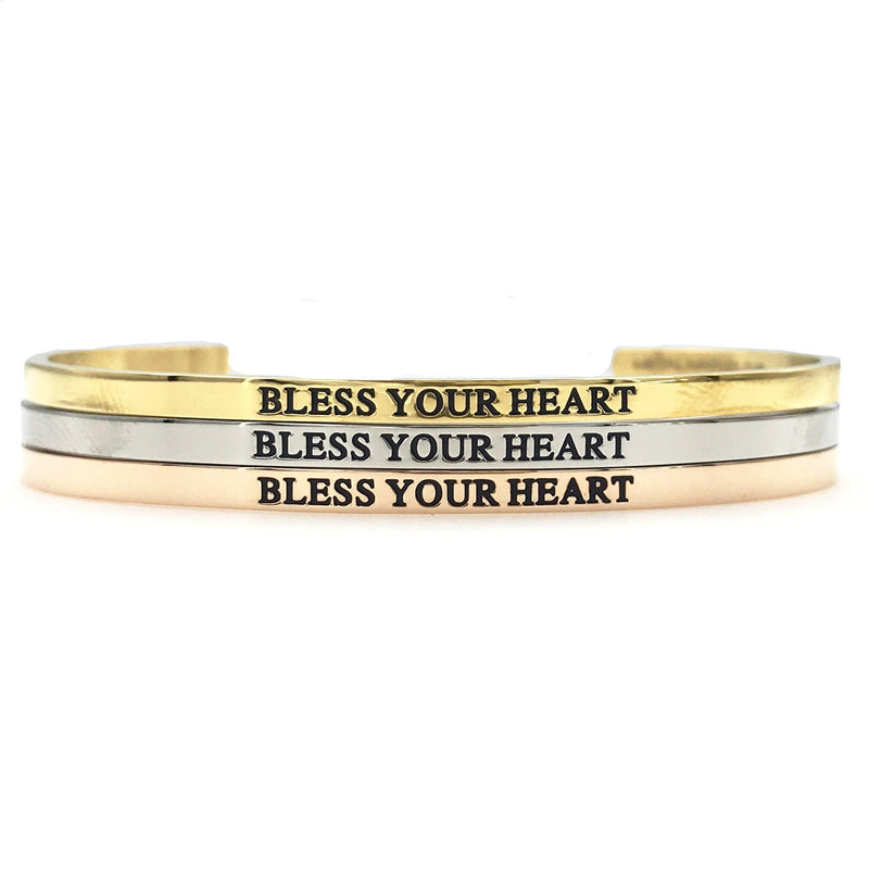Bless Your Heart Bangle - Metal Marvels - Bold mantras for bold women.