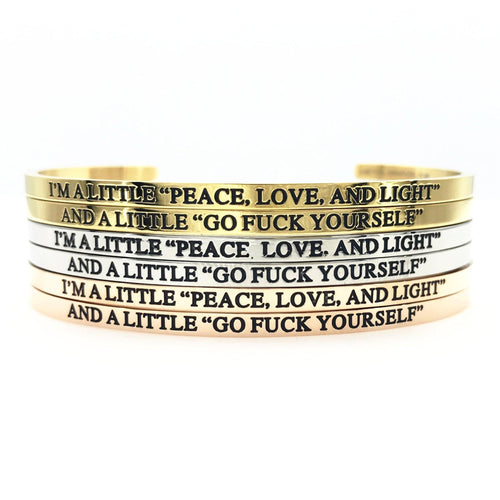 "I'm a little ""Peace, Love, and Light"" Bangle Set - Metal Marvels - Bold mantras for bold women."