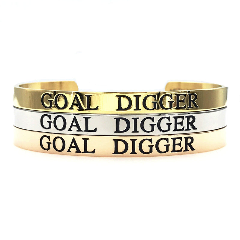 Goal Digger Thick Bangle - Metal Marvels - Bold mantras for bold women.