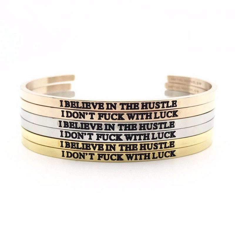I Believe in the Hustle, I Don't Fuck With Luck Bangle Set - Metal Marvels - Bold mantras for bold women.