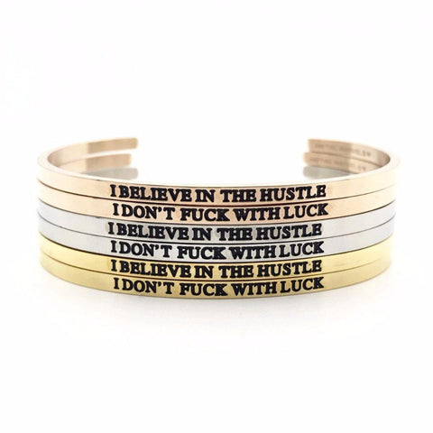I Believe in the Hustle, I Don't Fuck With Luck Bangle Set