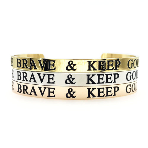 Be Brave & Keep Going Thick Bangle
