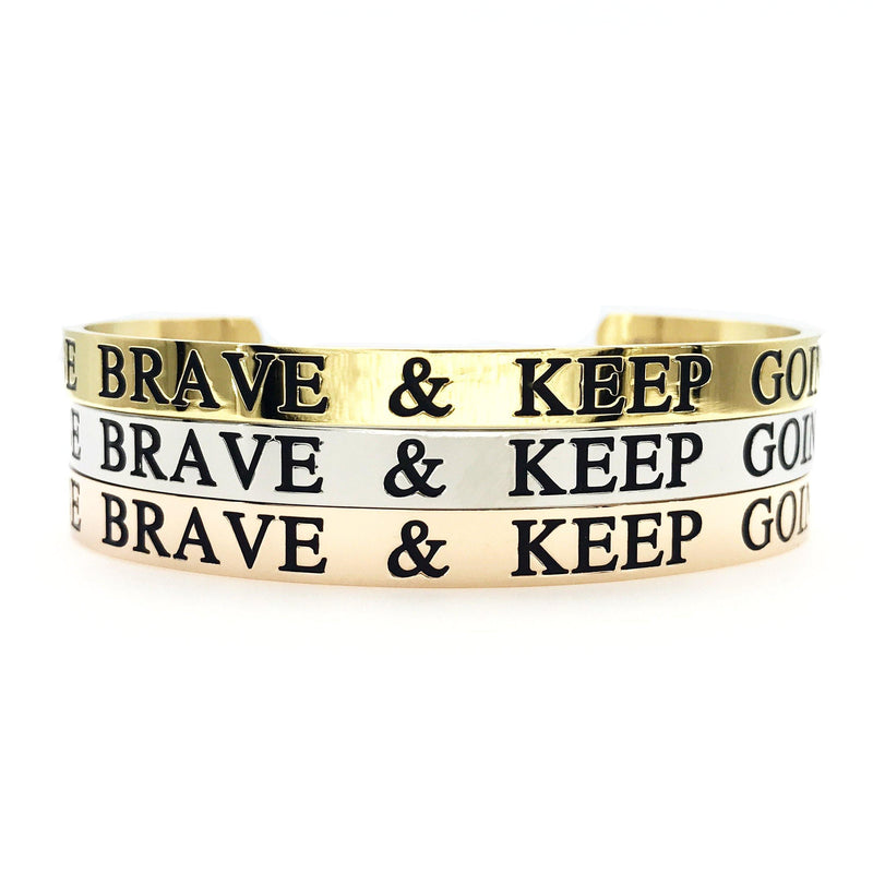 Be Brave & Keep Going Thick Bangle - Metal Marvels - Bold mantras for bold women.