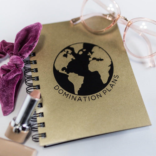 World Domination Notebook - Metal Marvels - Bold mantras for bold women.