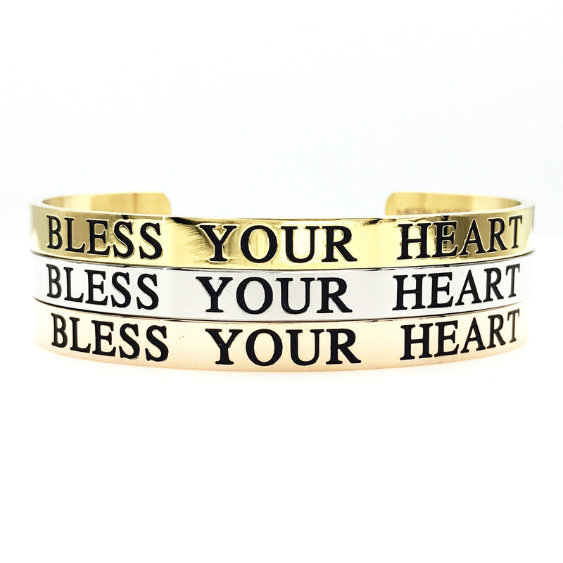 Bless Your Heart Thick Bangle - Metal Marvels - Bold mantras for bold women.