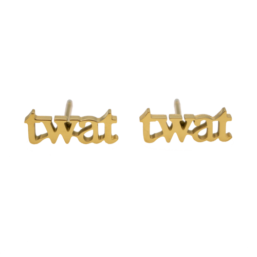 Twat Earring Set - Metal Marvels - Bold mantras for bold women.