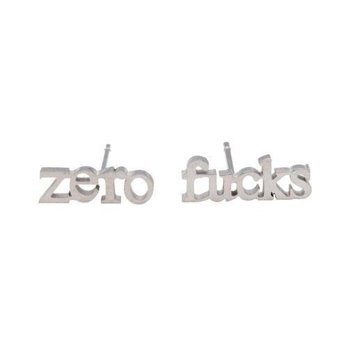 Zero Fucks Earring Set - Metal Marvels - Bold mantras for bold women.