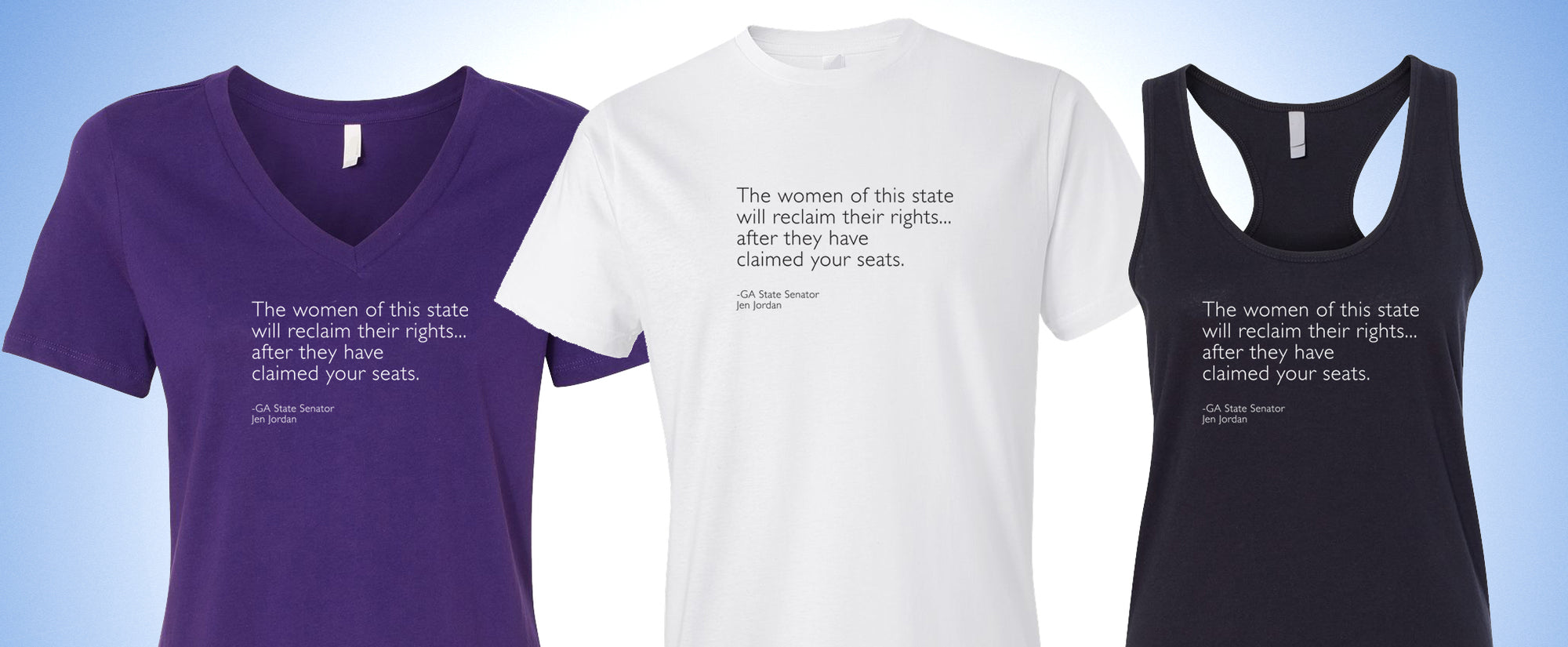Choose from T, tank, and V in white, heather grey, black, pink or purple!