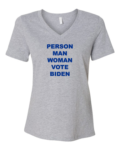 PERSON VOTE Women's Heather Grey Relaxed V-neck