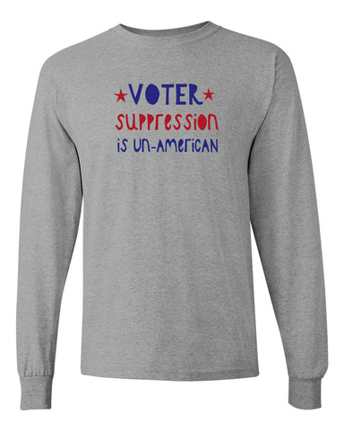 Voter Suppression Heather Grey Long Sleeved T