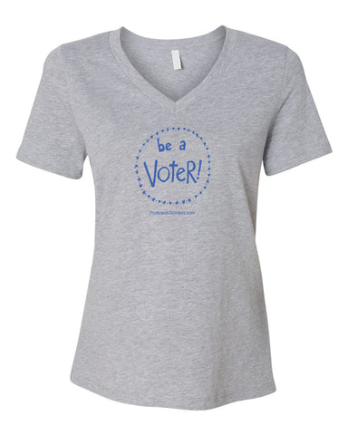 BE A VOTER Women's Heather Grey Relaxed V-neck