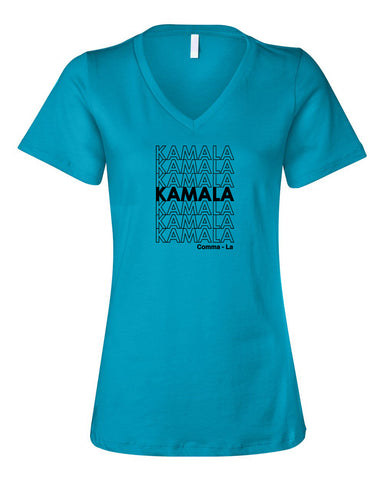 KAMALA Women's Turquoise Relaxed V-neck