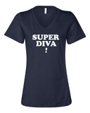 SUPER DIVA Women's Navy Relaxed V-neck