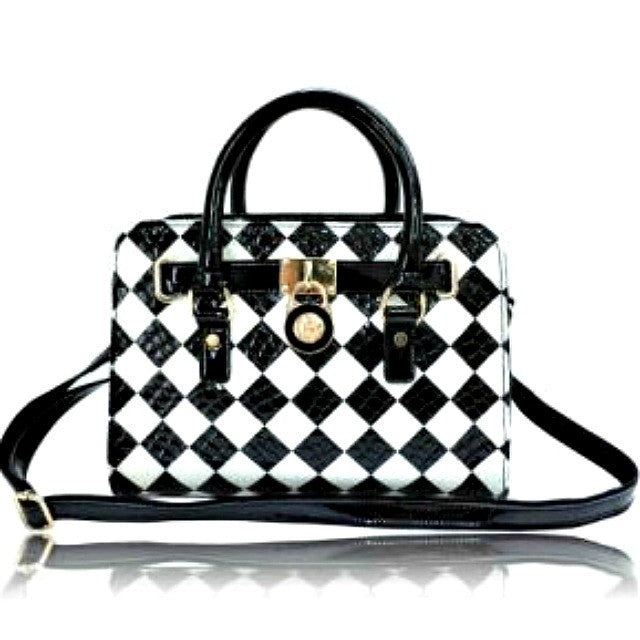 Chess Board Leather Satchel - Lorraine's for Women