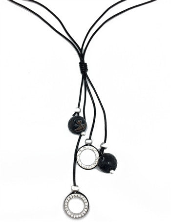 Sweet Lola Leather and Circles Necklace - Lorraine's for Women