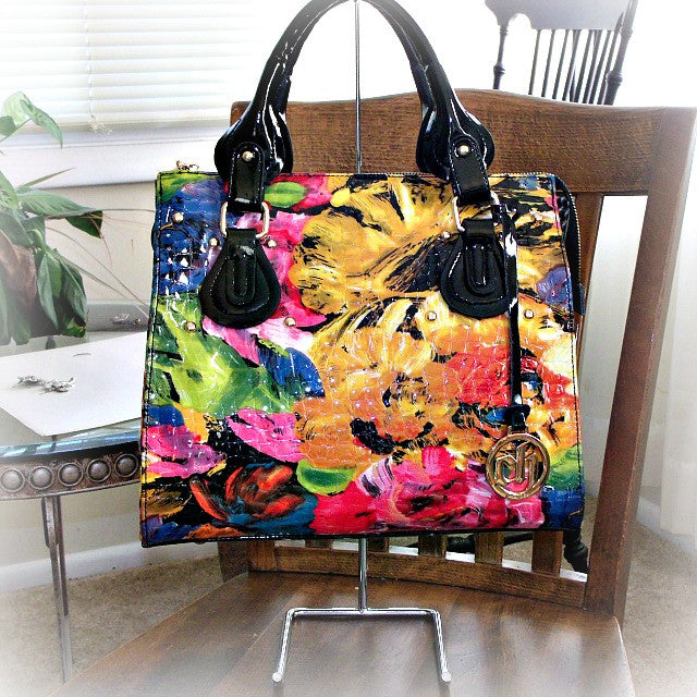 Leather Floral Satchel - Lorraine's for Women