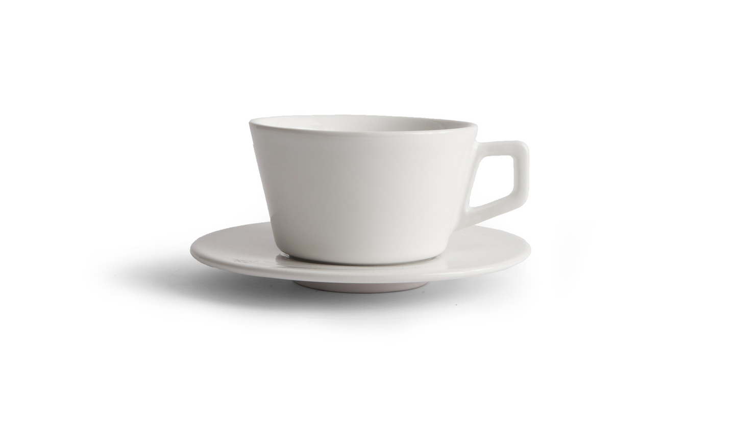 Angle Small Latte Cup & Saucer - White