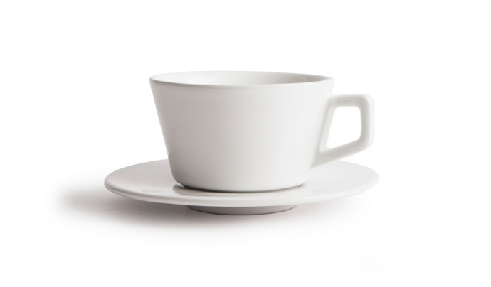 Angle Latte Cup & Saucer - White
