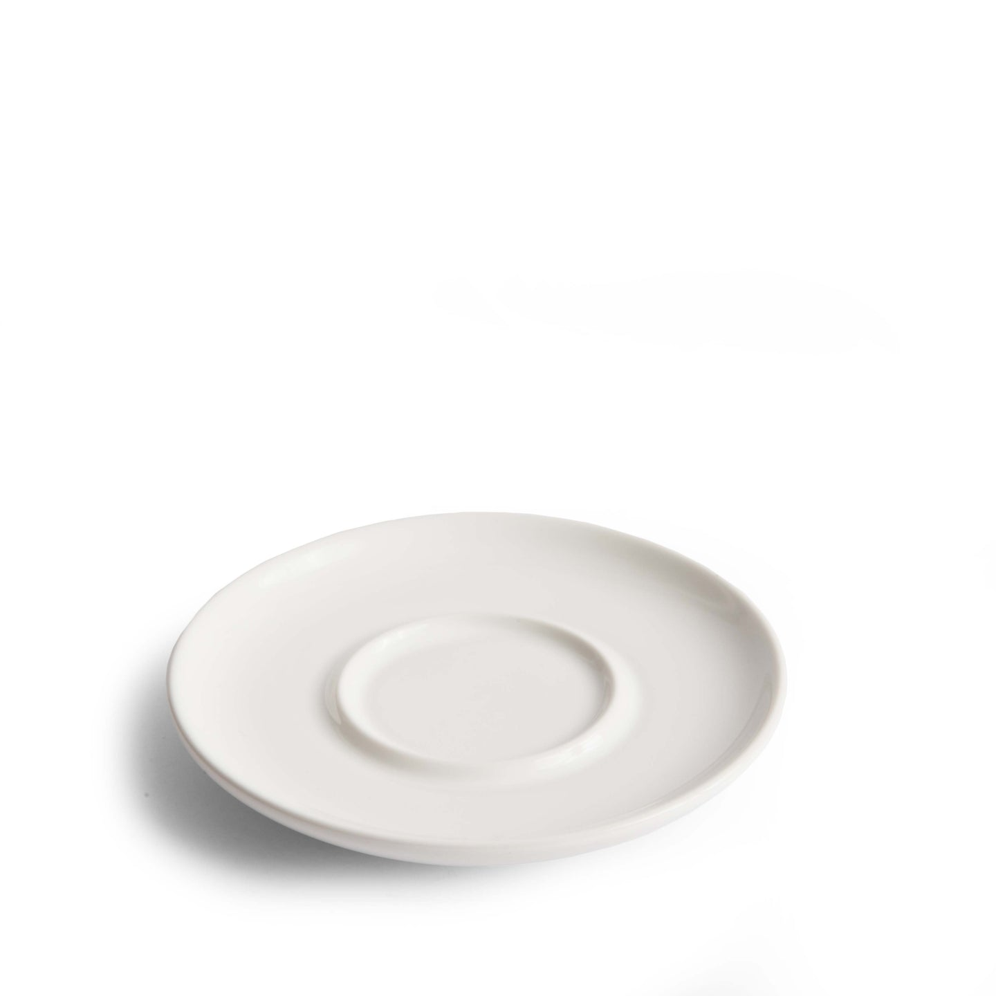 Wholesale Curve Small Latte Saucer - White (Six-Pack)
