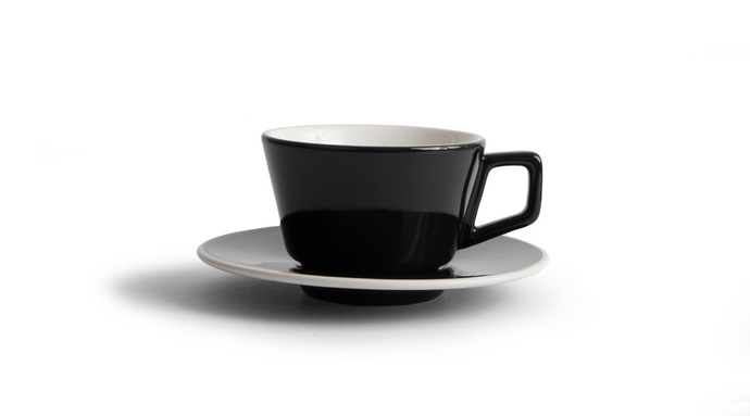 Angle Cappuccino Cup & Saucer - Black