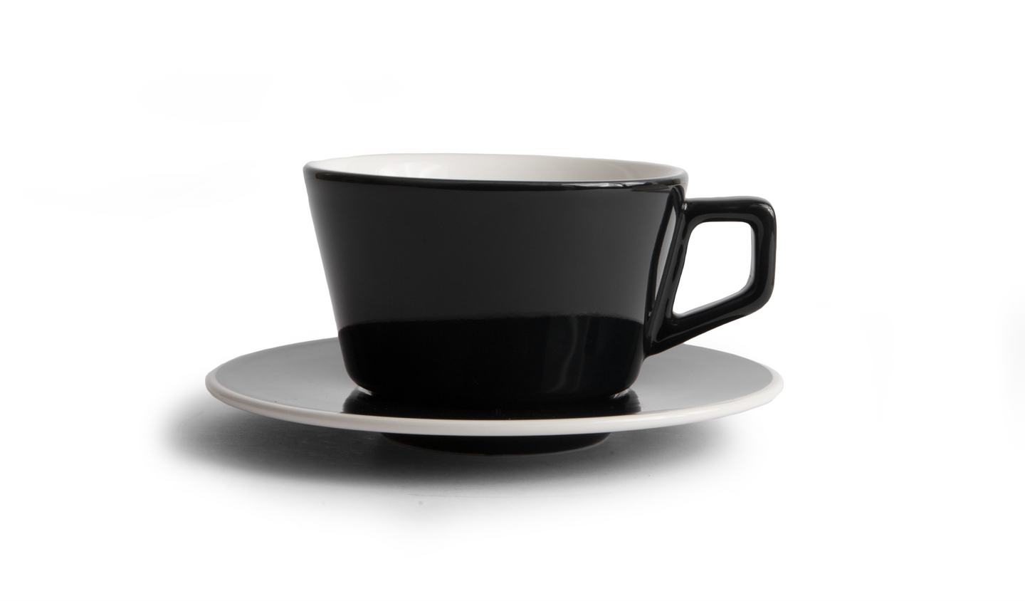 Angle Latte Cup & Saucer - Black