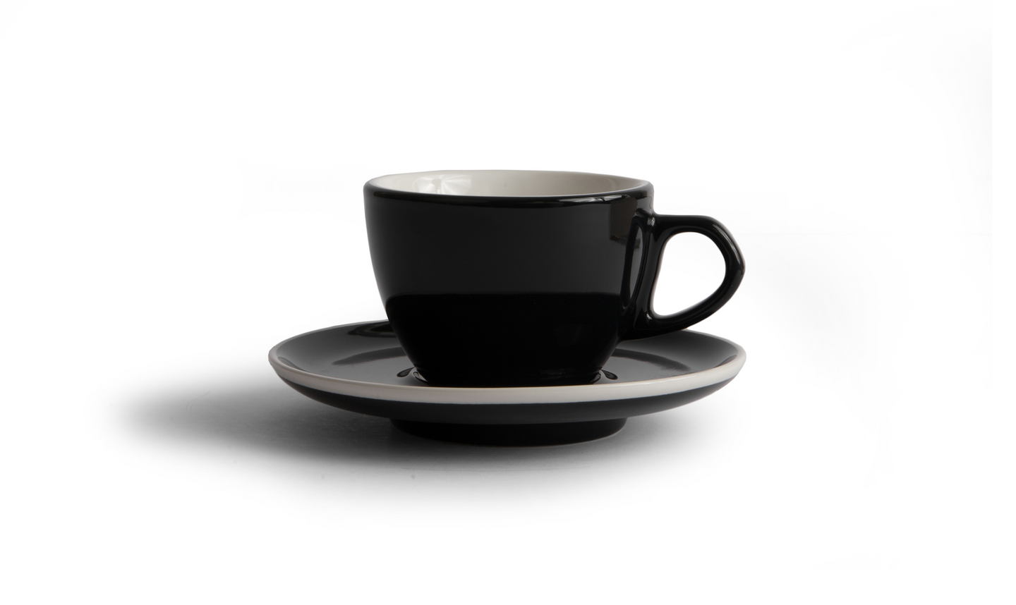 Curve Small Latte Cup & Saucer - Black