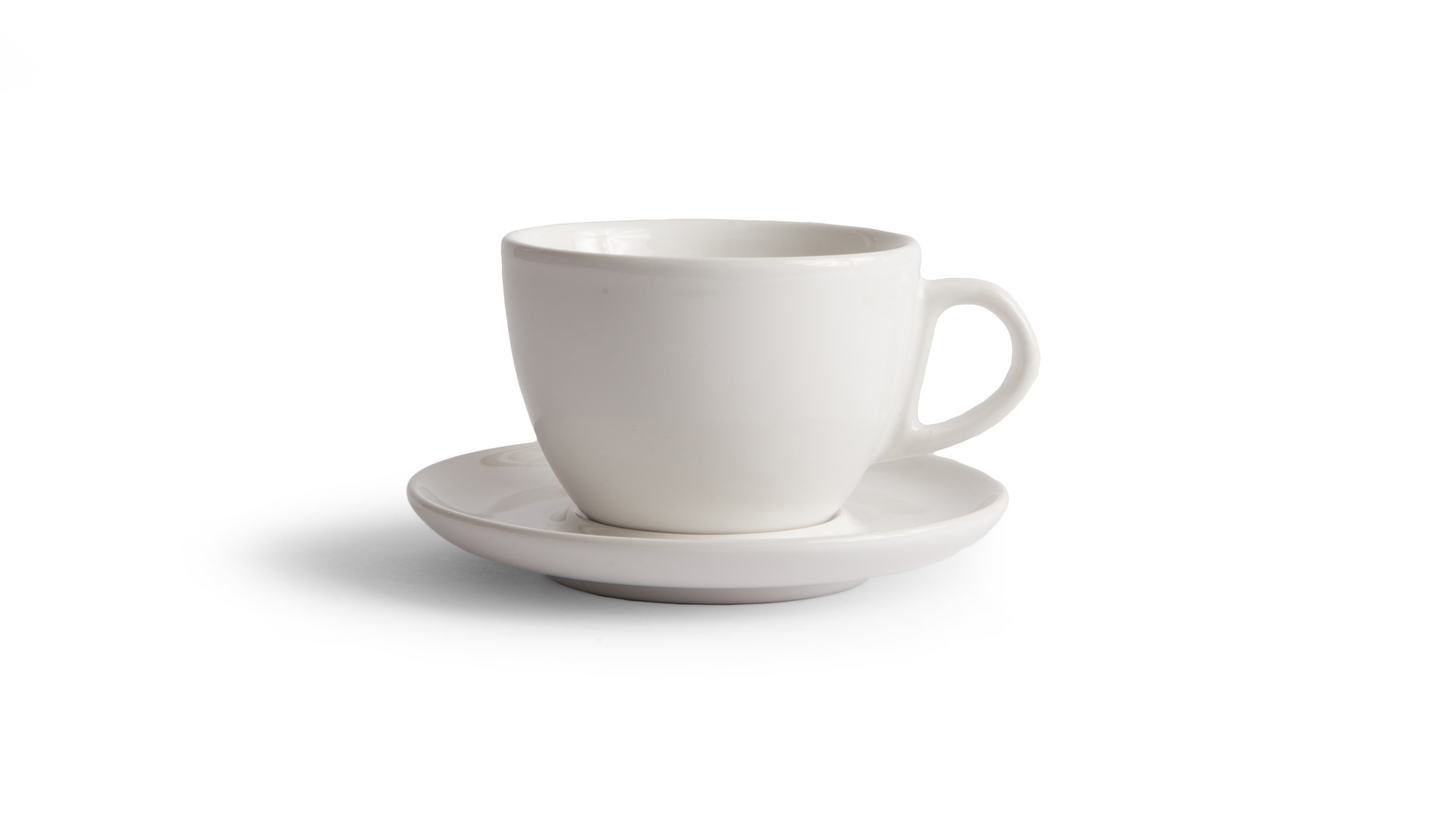 Curve Small Latte Cup & Saucer - White