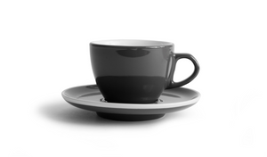 Curve Latte Cup & Saucer - Gray