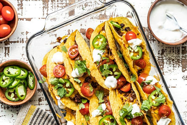 Baked Beef and Black beans TACOS