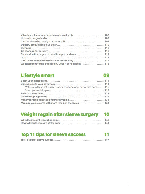 The Gastric Sleeve Guide Table of Contents Page 7