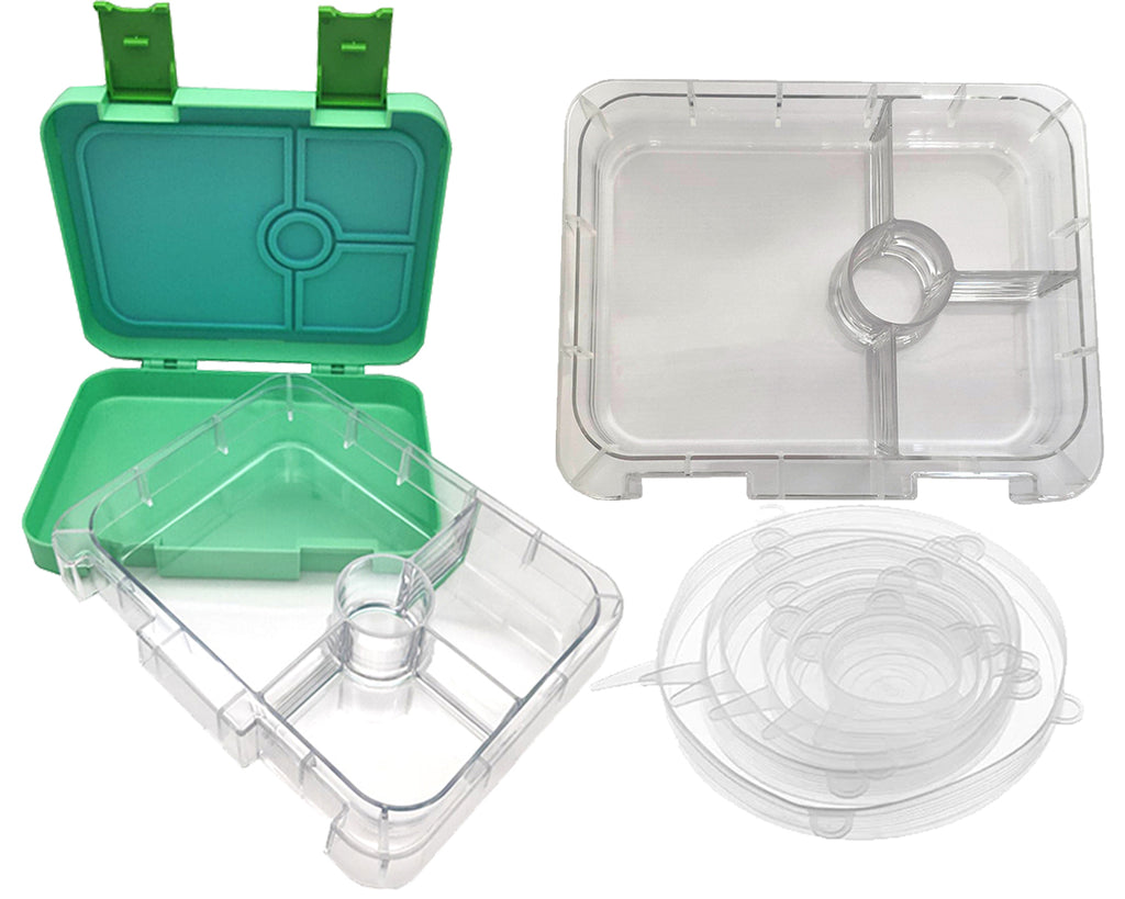 Green Portion Lunch Box - 4 Compartments + Removable Inner Tray & Silicone Food Lids