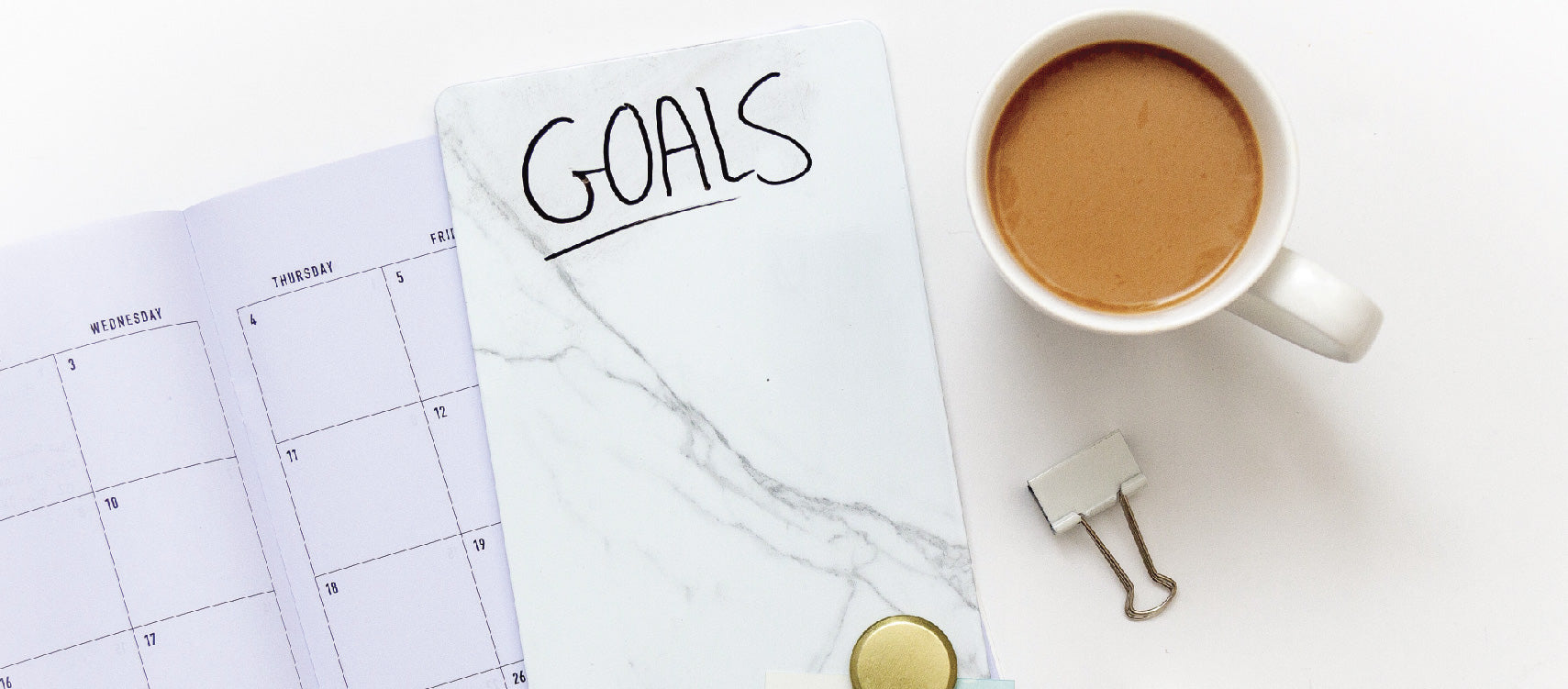 Goal planner with coffee on the side