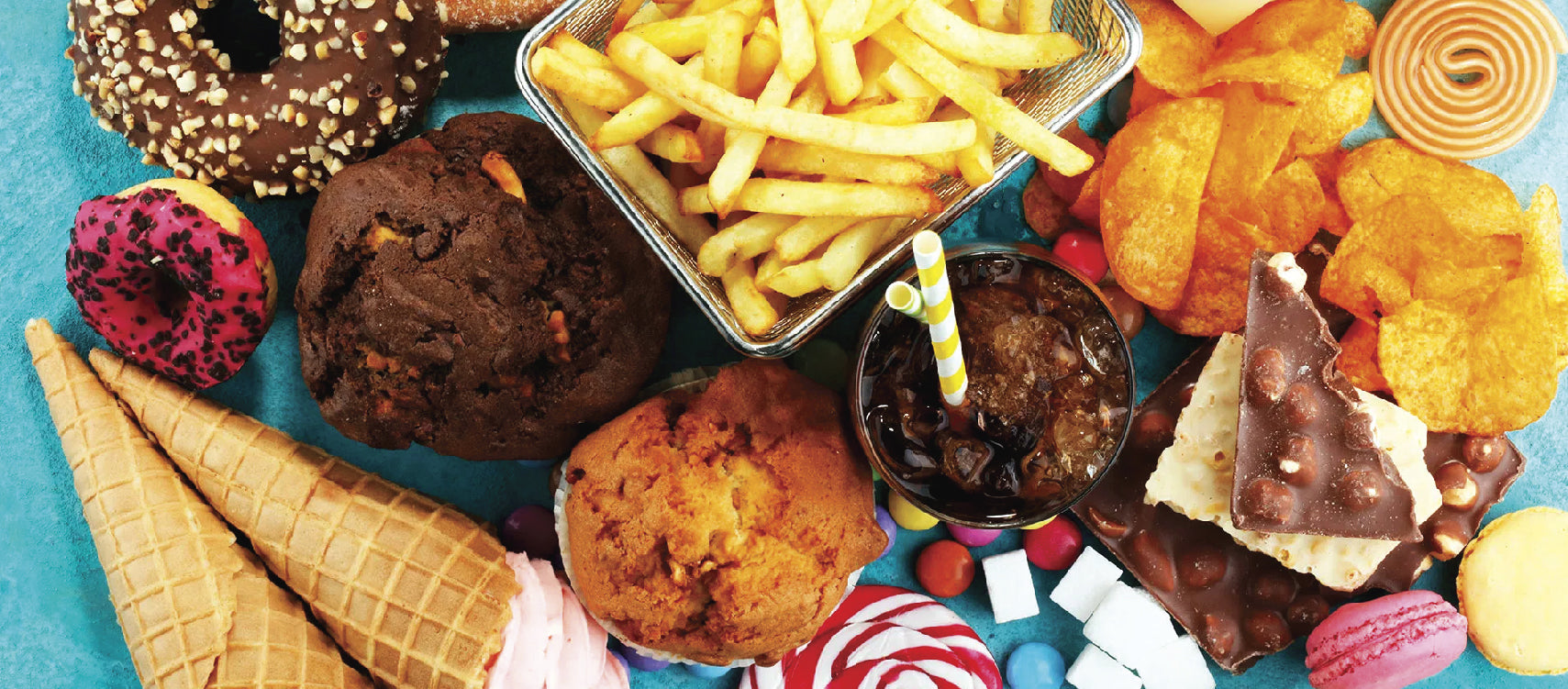 Different kinds of junk foods