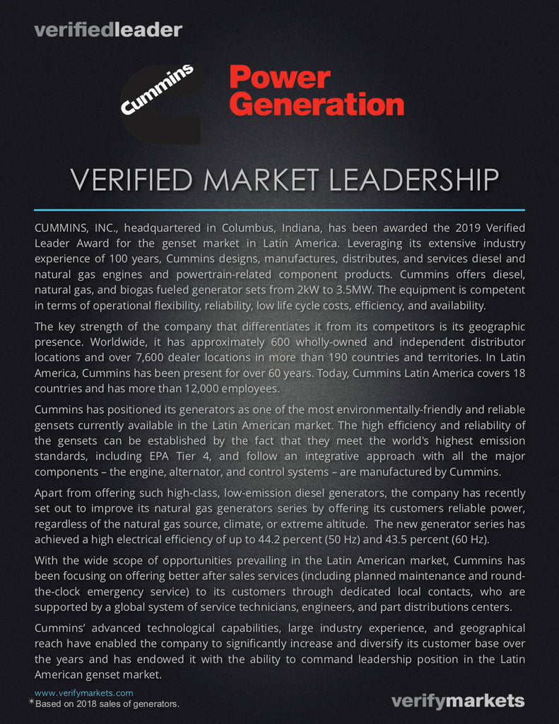 Market Research for Verified Leadership Award Cummins Power Generation - Latin American Gensets Market