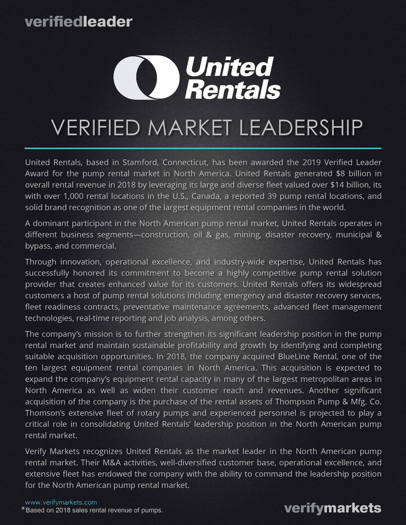 United Rentals Verified Leader Award for Market Leadership in the North American Pump Rental Market