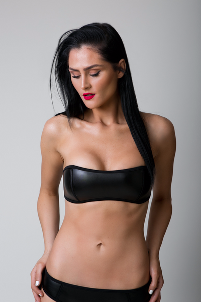 Black Faux Leather Bandeau Bikini Top