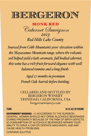 2013 Red Hills 'Monk Red' Cabernet Sauvignon