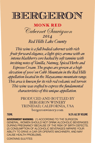 2014  Red Hills 'Monk Red' Cabernet Sauvignon