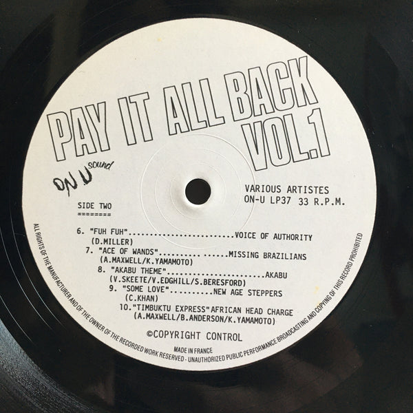 Pay It All Back Vol 1 Reggae Dub Compilation VG+/VG+ Vinyl LP France Import ON-U LP 37