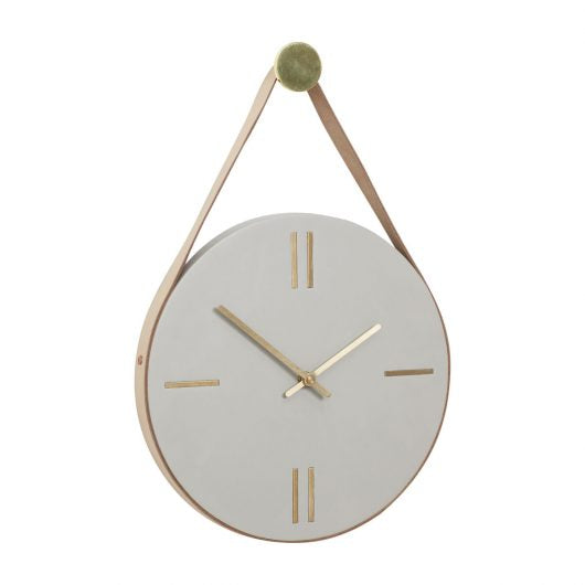 Concrete, Brass & Leather Clock